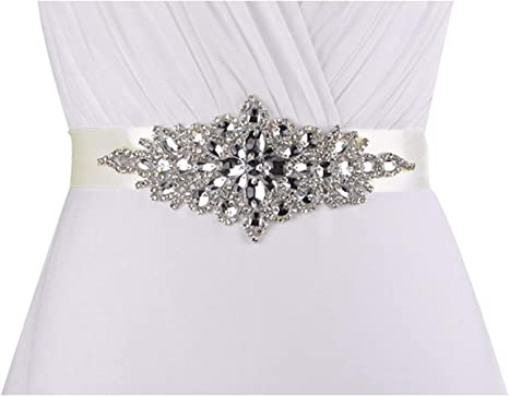 Lovful Ladys Rhinestone Crystal Sash Wedding Belt For Party
