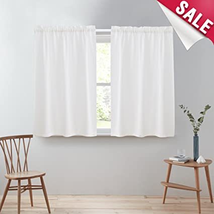 Genial Kitchen Tier Curtains 45 Inch White Semi Sheer Cafe Curtains Casual Weave  Textured Short Curtains For