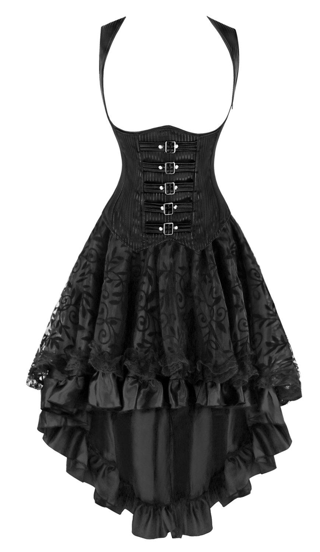 Kimring Women's 2 Pcs Steampunk Gothic Underbust Corset & Lace Dancing Skirt Set 3