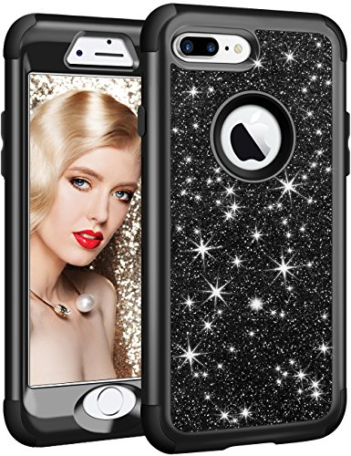 Vofolen Compatible iPhone 8 Plus Case iPhone 7 Plus Case Glitter Bling Shiny Heavy Duty Protection Full-Body Protective Hard Shell Rubber Cover Armor with Front Bumper for iPhone 8 Plus 7 Plus - Black