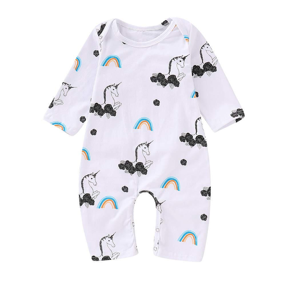 e7be3e0c4abe8 Amazon.com: Mikrdoo Baby Clothes Set Long Sleeve Bodysuit White Tops Unicorn  Printed Pants and Headband Outfits 3PCS: Clothing
