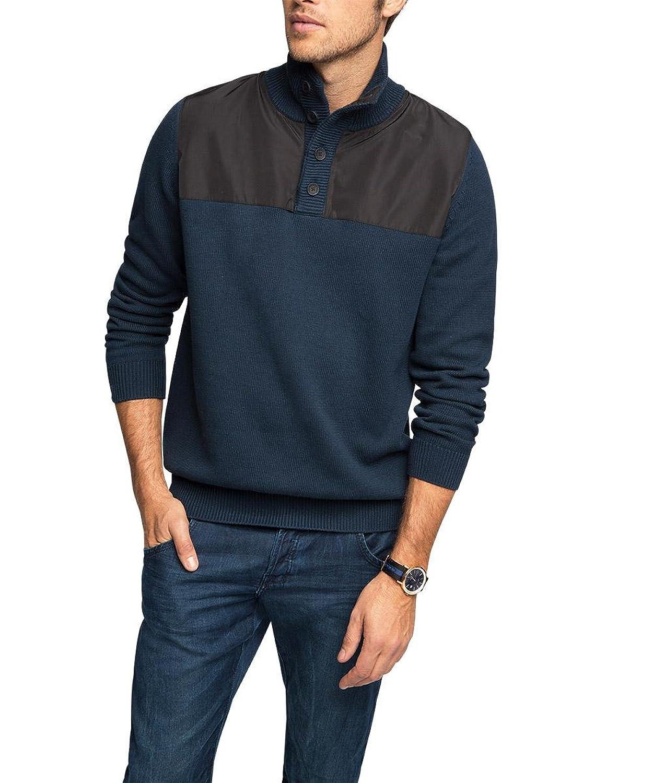 edc by Esprit Men's Mit Nylonbesatz Long Sleeve Jumper