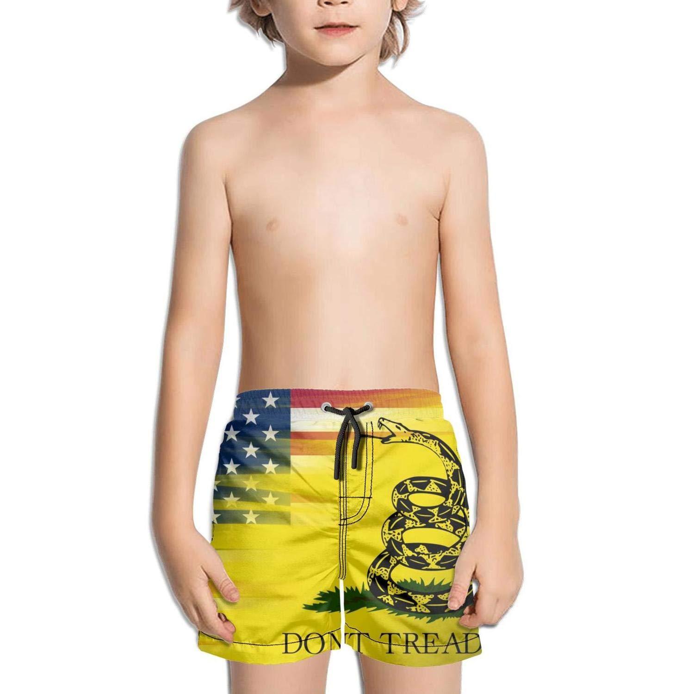 Lenard Hughes Boys Quick Dry Beach Shorts Pockets American Flag Gadsden Flag Swim Trunks Summer