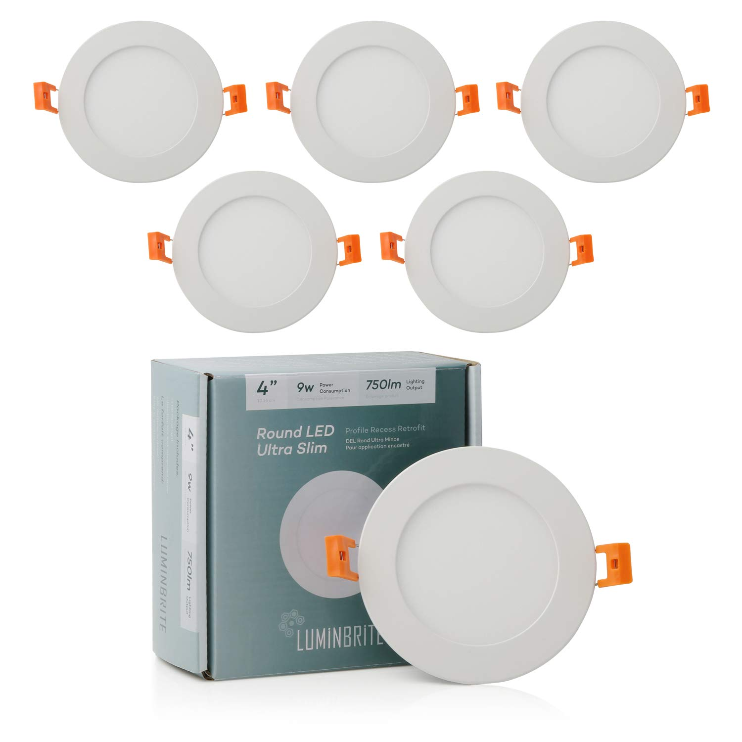 Lumin Brite Round Dimmable LED Recessed Ceiling Light Panel (4-Inch)| Residential 9W 750lm High Lumens | Slim Profile 3000K Disk Light for Home | ETL Listed/Energy Star Certification | Soft 6 Pack