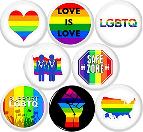 """Gay 8 NEW 1/"""" buttons pins badges queer lgbtq rights pride civil"""