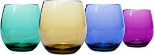 Oenophilia Plastic Stemless Wine Glasses Jewel Tone Colors - Set of 4