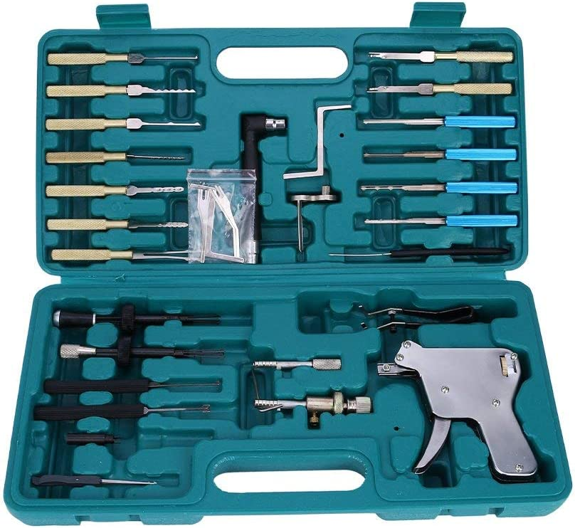 Loboo Idea Cerradura Pistola de selección, Abridor de puerta Cerradura Caja de herramientas de reparación para herramientas de cerrajería Cerradura Pistola de selección Selección de cerraduras