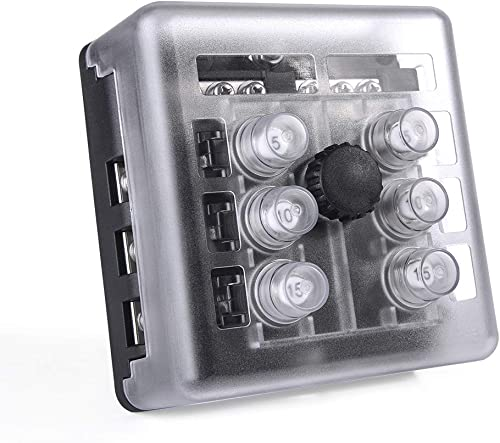 MICTUNING 6 Way Resettable Circuit Breakers Box, 100A Thermal Circuit Breaker Overload Circuit Protector Replace Fuse Box Holder with Waterproof Metal Nut Cover