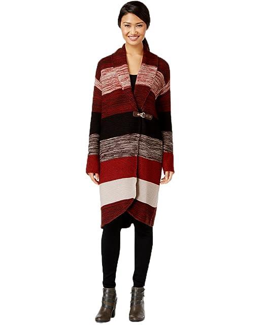 Amazon.com: De la Mujer Buckled chaqueta de punto Sweater ...