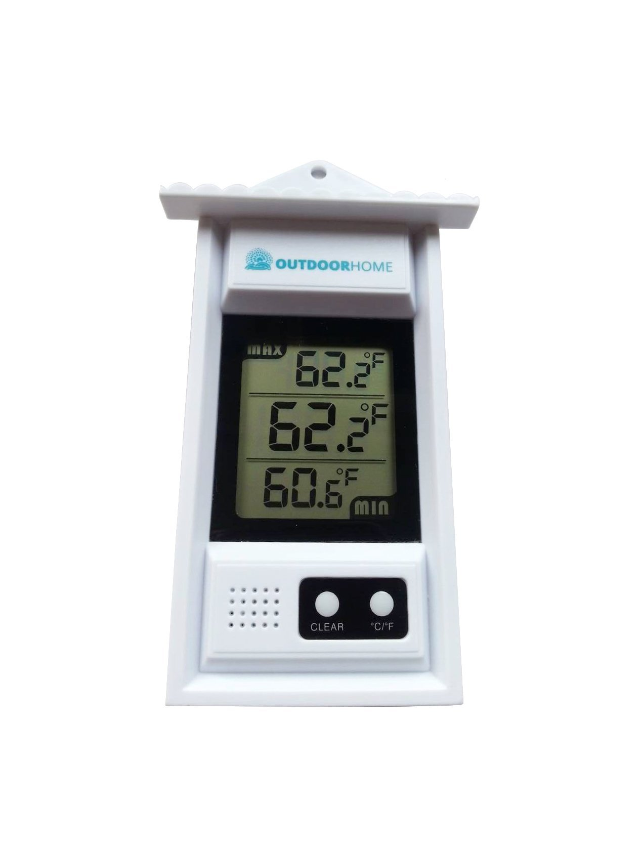 Digital Min Max Thermometer by Outdoor Home. Perfect for Garden, Patio or Greenhouse. Accurate Weather Thermometer with Current Temp & Auto Sensor for Min Max Readings Use Indoors Or Outdoors.