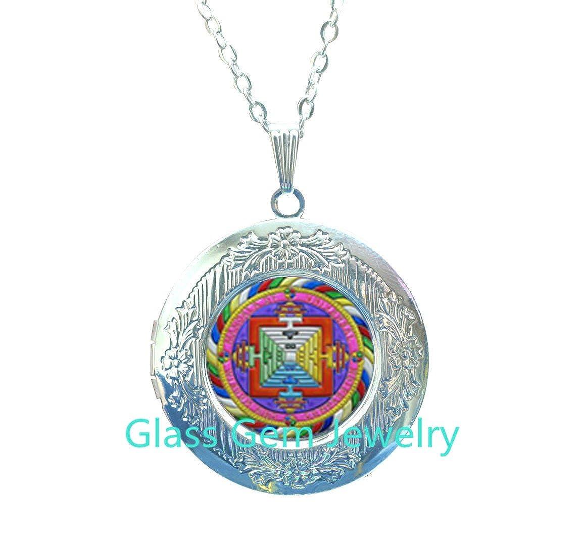 sri yantra Locket Pendant Spiritual Yoga Jewelry gift,Q0239 Sri yantra mandala Locket Necklace buddhist sacred geometry jewelry