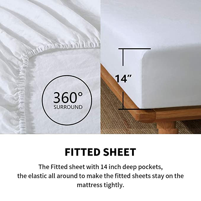 Simple/&Opulence 100/% Stone Washed Linen 4pcs Hollowed-Out Design Solid Sheet Set