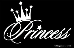 UR Impressions Princess Crown Decal Vinyl Sticker Graphics for Cars Trucks SUV Vans Walls Windows Laptop|White|5.6 X 3.6 Inch|URI498