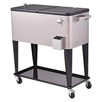 Giantex Patio Cooler Rolling Cart Outdoor Portable Stainless Steel Ice  Beverage Chest Pool With Bottle Opener
