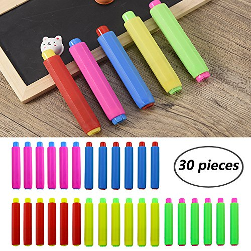 Etmact 30pcs Colored Plastic Blackboard Adjustable Chalk Clip Chalk Holder for Teachers Kids School Office Drawing Board, 5 color, 3.7