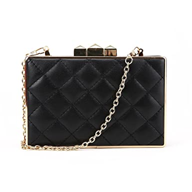 b44b73ca35a SALE - Women's 'LDN' Designer Style Quilted Clutch Bag - Ladies Evening Box  Bag