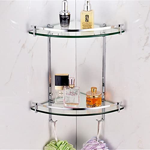 Leyden TM Solid Brass Wall Mounted Glass Double Corner Shelf with Hooks – Oval Series
