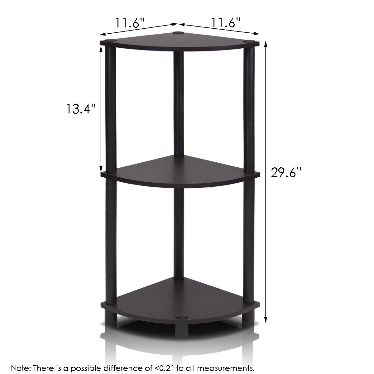 Furinno 12077EX/BK Turn-n-Tube Multipurpose 3-Tier Corner Shelf, Espresso/Black