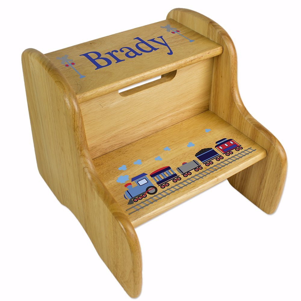 Personalized Wooden Train Step Stool MyBambino FIXE-NAT-202-PT