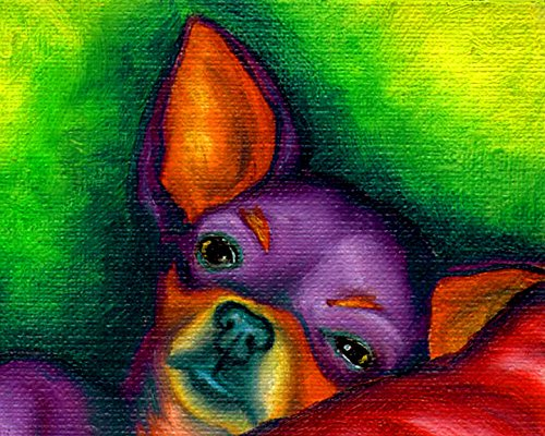 8x10 Colorful Chihuahua Head Signed Dog Pop Art Print of Original Painting