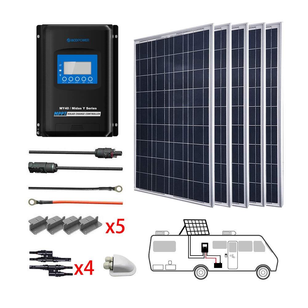 ACOPOWER 500 Watts 12/24V Polycrystalline Solar Panel RV Kits