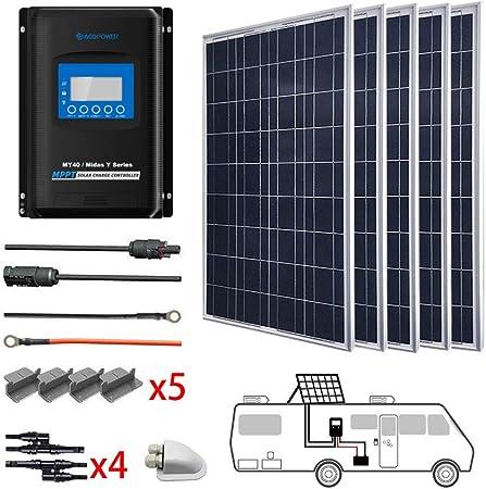 side facing acopower 500 watt 12/24 solar panel kit