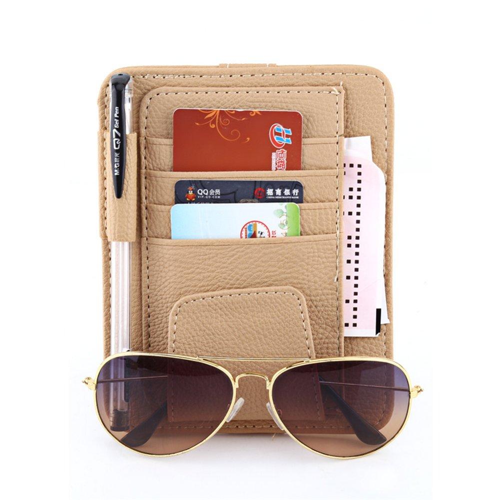 Dubens® , organizer Sun Visor, supporto per occhiali da sole e portacarte con clip, multifunzione, in pelle, custodia protettiva, custodia di supporto per auto, veicoli, camion DUBENS®