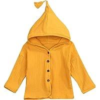 HAPPYMA Toddler Kids Baby Boy Girls Hoodies Button Tassel Long Sleeve Tops Autumn Clothes