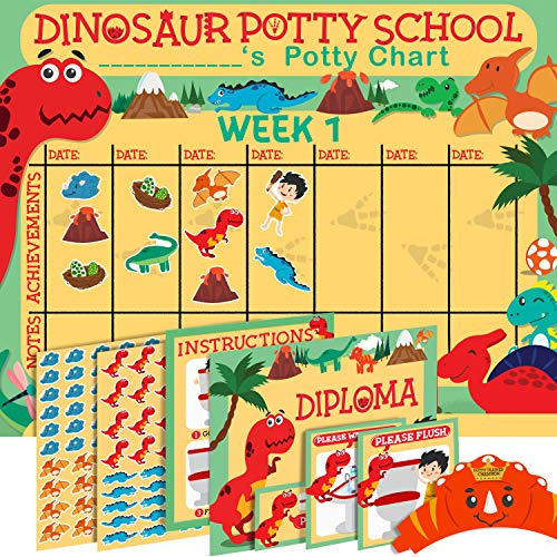 Potty Training Chart for Toddlers - Sticker Chart - Celebratory Diploma, Crown and Book - 4 Week Potty Chart for Boys and Girls - Potty Training Sticker Chart (Dinosaur)