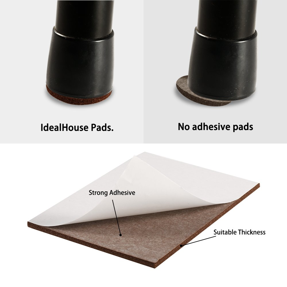 Furniture Pads, IdealHouse Felt No Scratch Furniture Pads on Hardwood Floors Large Floor Furniture Protectors Pads Rectangle Felt Chair Sliders 18 Pieces by IDEALHOUSE (Image #6)