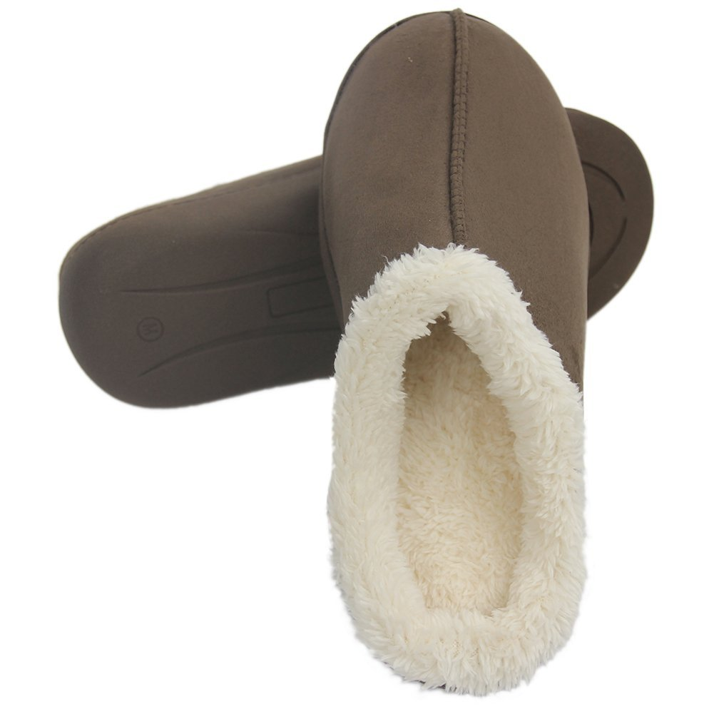 Home Slipper Men's Comfortable Short Plush Lined Soft Sole Closed-Toe House Slippers,US 8/9 Saddle Brown by Home Slipper (Image #4)