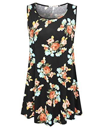 6fc0535a055 JollieLovin Womens Sleeveless Comfy Plus Size Tunic Tank Top with Flare Hem  (Small (US