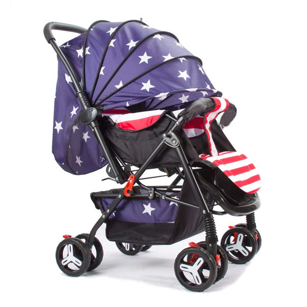 Gxinyanlong Light Baby can sit and Lie Down and fold Baby Handcart,Star and Striped Flag