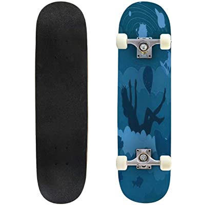 Classic Concave Skateboard Lucid Dreaming Vector Illustration Awaken in a Dream The situations Longboard Maple Deck Extreme Sports and Outdoors Double Kick Trick for Beginners and Professionals : Sports & Outdoors