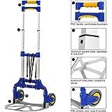 Finether-Carretilla de Mano Plegable Carro de Transporte Multifuncional Carrito Portátil, 176.4 lbs de Capacidad, Color Azul