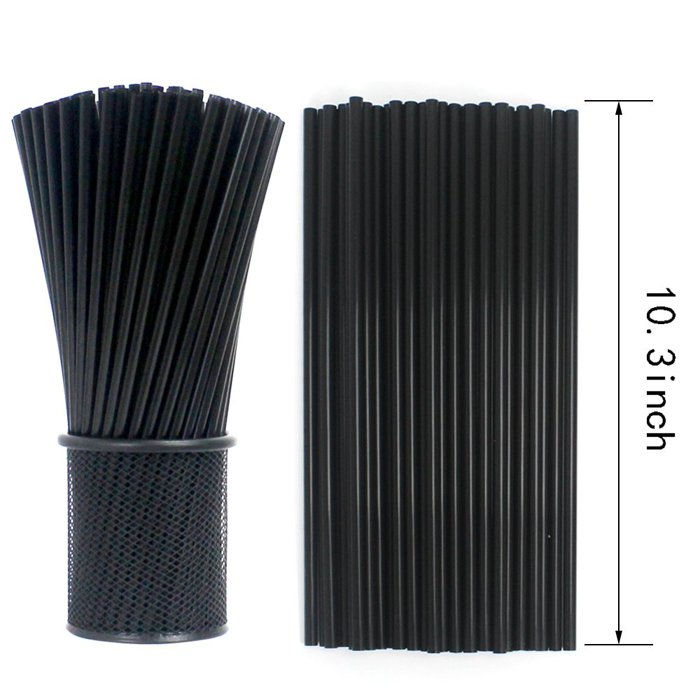Tomnk 500pcs 10.3 Inches Drinking Straws Black Plastic Straws by TOMNK