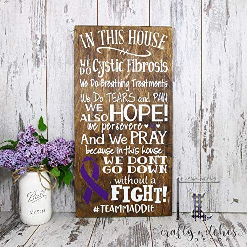 In This House We Do Cystic Fibrosis Wooden Sign, Cystic Fibrosis Sign, Home Decor Sign, Cystic Fibrosis House Rules Sign, Cystic Fibrosis