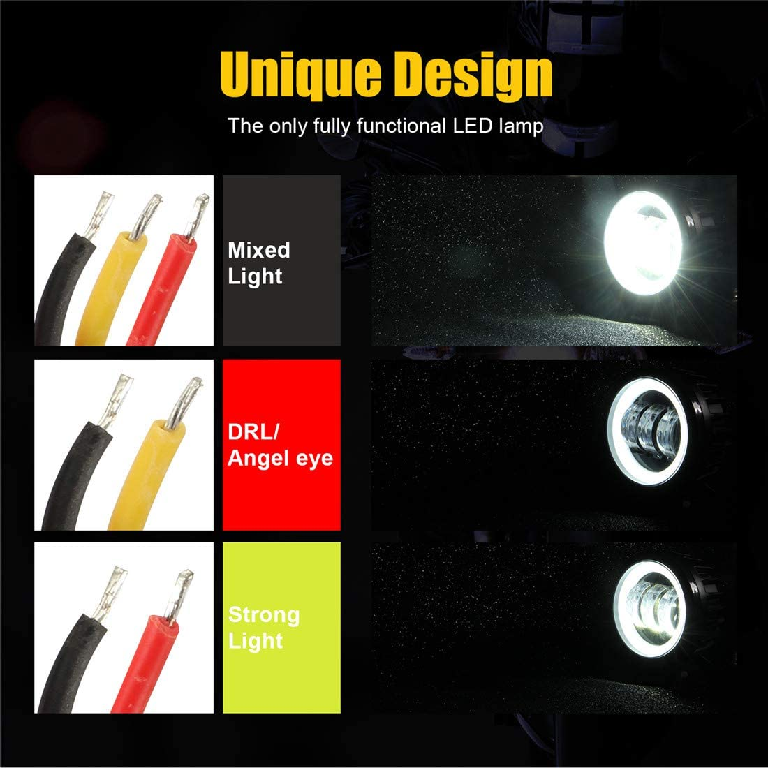 AUOKAY 3.5 Inch Round 60W LED Work Light Bar Spot Pods with White Ring Driving Fog Off Road Motor ATV Truck Boat Driving 12V 24V Waterproof Pack of 2