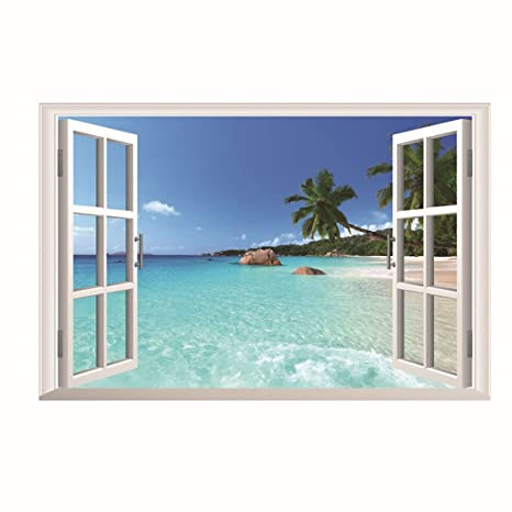Window animal water beach Home Decor Removable art Wall Sticker Decal Decoration