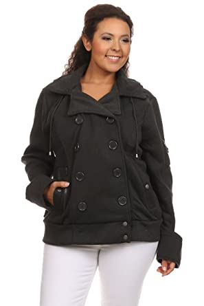 e57c600ebe40a Ambiance Apparel Women s Junior Plus Size Double Breasted Pea Coat Jacket  at Amazon Women s Clothing store