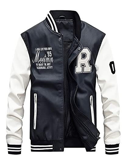 33d82ac60662 ROBO Veste Cuir Homme Jacket Moto Veste de Baseball Epais Casual Bomber  Blouson
