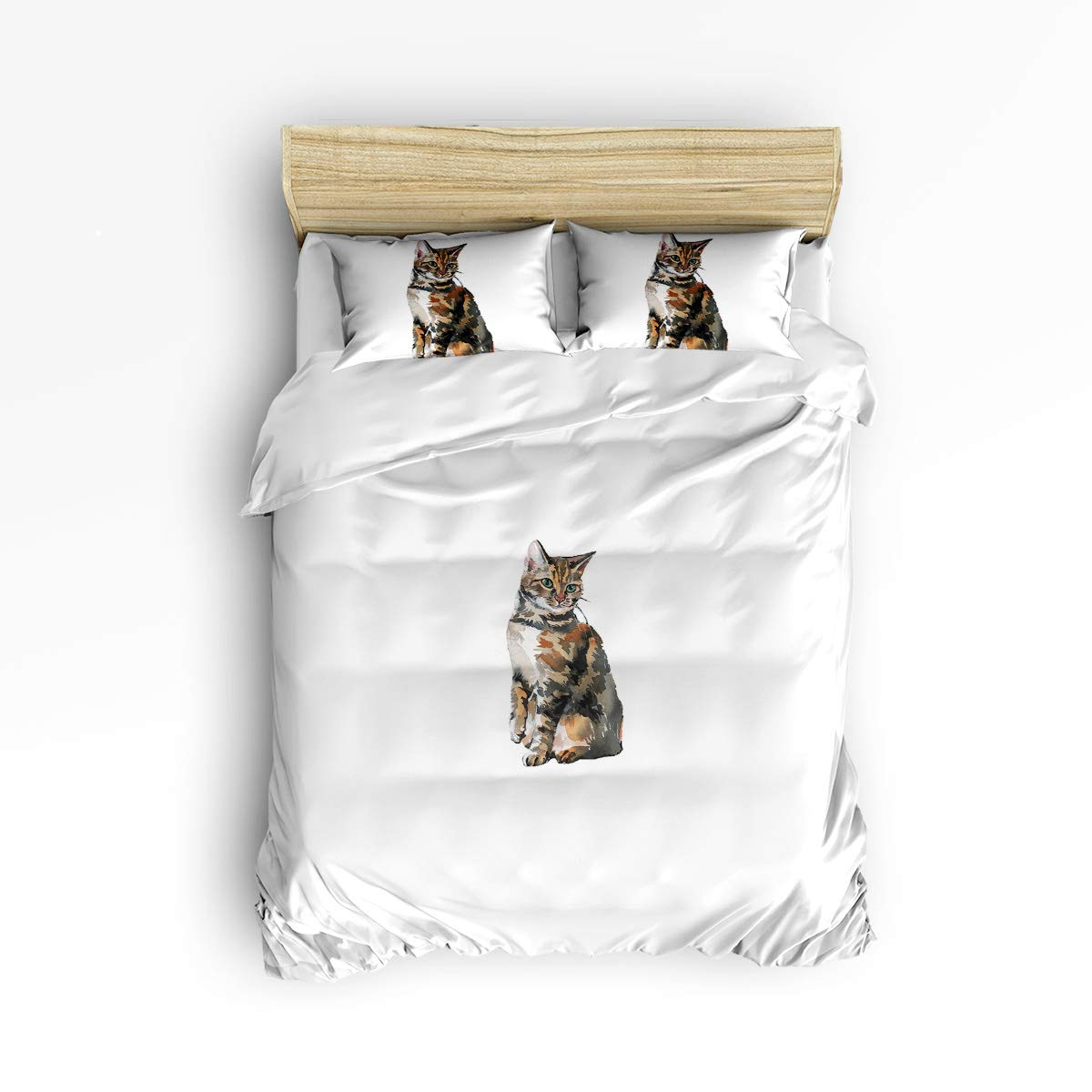 YEHO アートギャラリーキュート3ピース布団カバーセット ソフトベッドセット 子供 男の子 女の子 かわいい猫 動物の食べ物の模様 寝具セット 掛け布団カバー 枕カバー2枚付き Twin Size 20181212whlwhlyagsjSLXM01103SJSAYAG B07LB749DN Cat993lyag1041 Twin Size