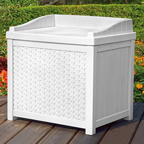 - Outdoor Deck Box Wicker Storage Bench Seat 22-Gallon Ideal for All Garden Storage Needs in White Color