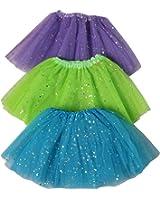 Girls Ballerina Sparkle or Chiffon Tutu Beginner 3 Pack Dress Up Set (Choose Color)