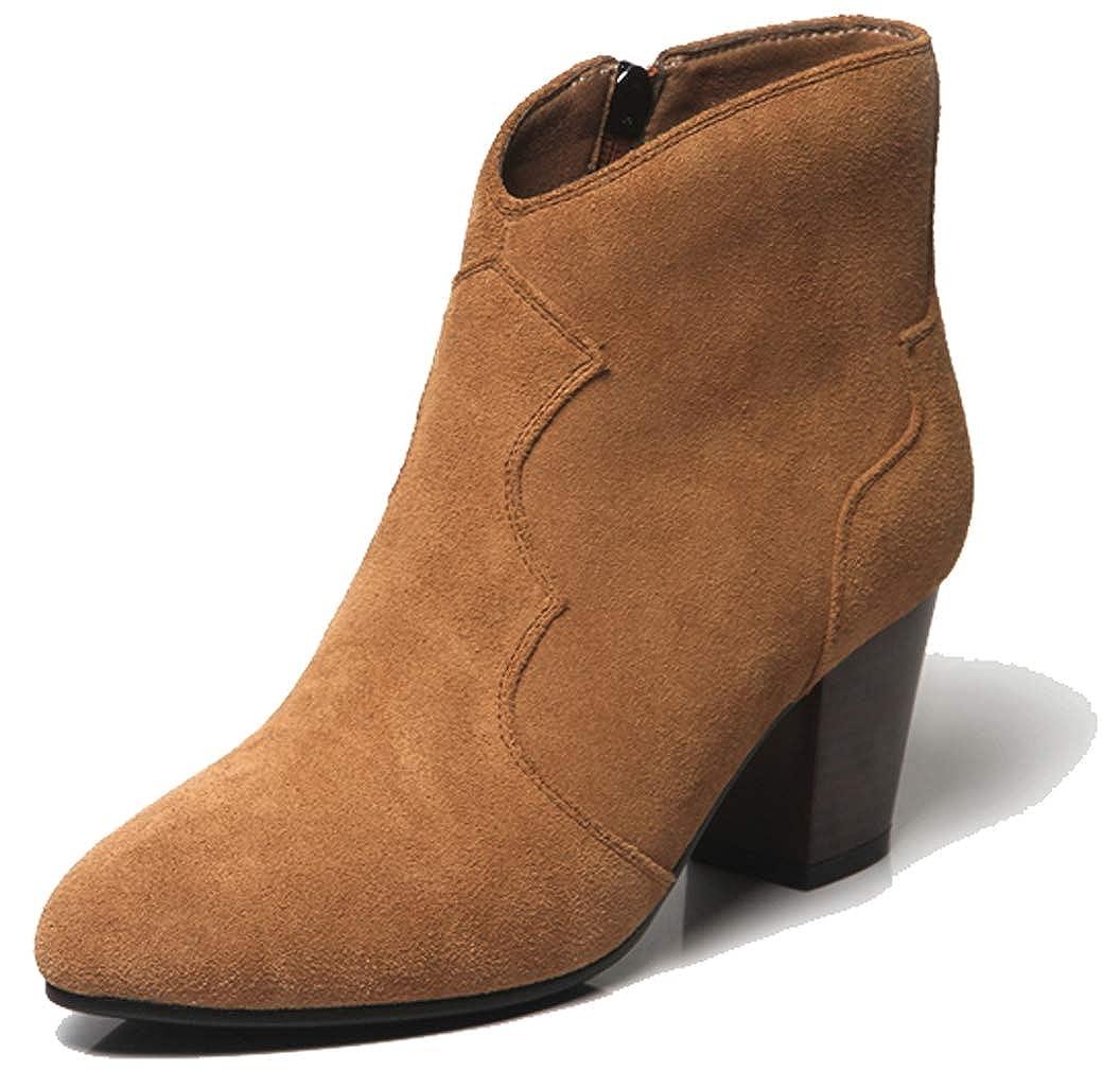 SimpleC Damen Klassisch Gedruckt Spitzschuh Slip-on Seitlicher Reißverschluss Westernabsatz Knöchel Martin Chelsea Stiefel