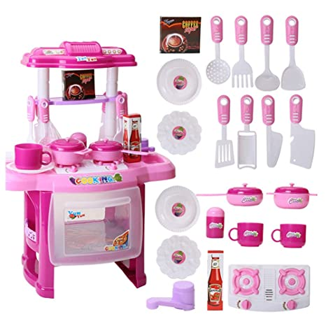 Toddler Kitchen Playset, Electronic Lights & Sounds Pretend Play Kitchen  Little Chef Cooking Girl Toy Cooker Play Set, Role Playing Game for ...