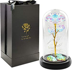 URBANSEASONS Beauty and The Beast Rose Kit,Colorful Artificial Flower Rose Gift,Lasts Forever in A Glass Dome,Unique Gifts for Birthday Valentine's Day Christmas Wedding Anniversary
