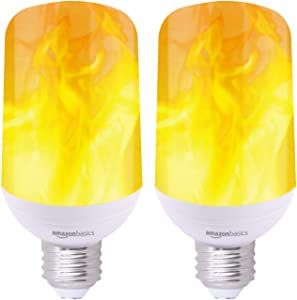 AmazonBasics LED Bulb, Simulates Moving Flame, Suitable for Enclosed Fixtures - 2-Pack