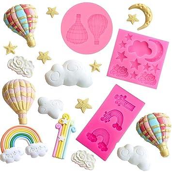 mciskin Moldes de silicona para fondant Luna &Estrella &Nube, globos y arcoíris, para decorar