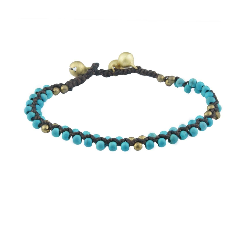 UJOY Round Stretch Bracelet Gold Sand Stones Bell Closure Handmade Braided Single Wrap Bracelets for Women BZS008 Blue